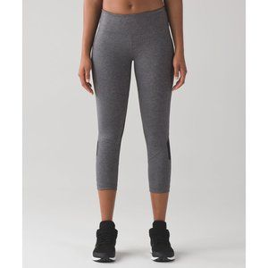"""lululemon Pace Rival Crop 19"""" size 4 Heathered Black Luxtreme Leggings"""